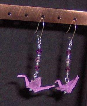 Purple swarovski-accented Origami Crane Earrings