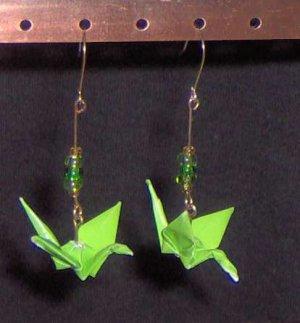 Lime Green Origami Crane Earrings