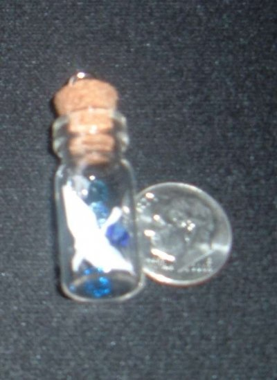 Crane in a Bottle w/ crystals