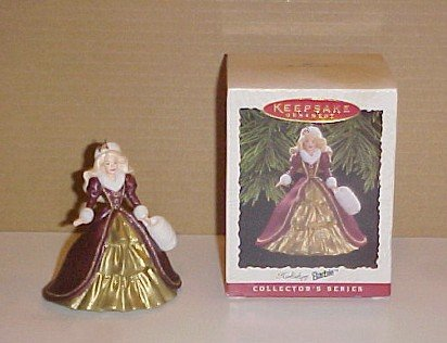1996 Hallmark Keepsake Holiday Barbie Ornament In Box