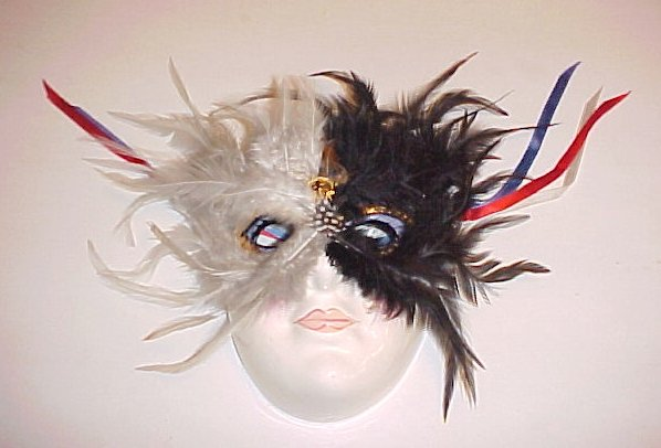Masquerade Theater Ceramic Black White Feather Kabuki Mask