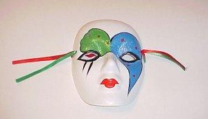 Ceramic Masquerade Blue Green Glitter Kabuki Mask