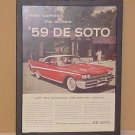 1959 Dodge Desoto Vintage Magazine Ad With Glass Frame