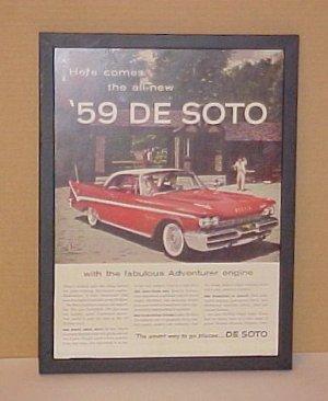 1959 Dodge Desoto Vintage Magazine Ad With Glass Frame