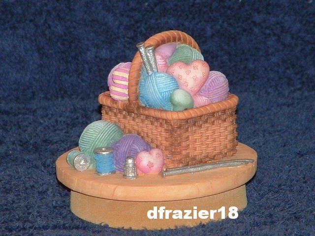 SEWING BASKET Jar Candle Topper Knitting Yarn Basket Theme Decor Decoration