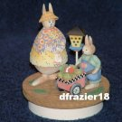 BUNNIES with VEGETABLE CART Jar Candle Topper Bunny Rabbits Debbie Mumm Easter Decoration Decor
