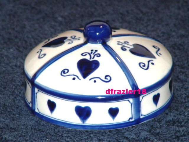 BLUE & WHITE HEARTS Jar Candle Topper Ceramic Dome Heart
