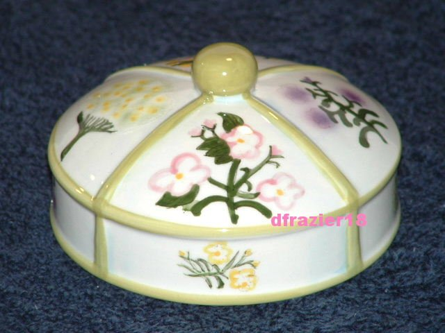 BOTANICAL Jar Candle Topper Ceramic Dome