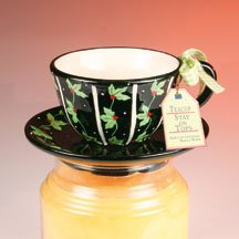 Stay On Top Jar Candle Topper Capper Christmas HOLLY TEACUP