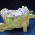 Tealight Tea Light Candle Holder Wheelbarrow with Purple SPRING FLOWERS