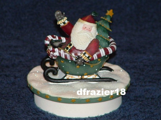 CANDY CANE SLEIGH SANTA Jar Candle Topper Debbie Mumm Christmas Spirit Decoration