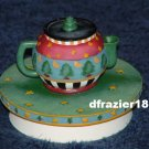 CHRISTMAS TEAPOT Jar Candle Topper Debbie Mumm Tea Pot