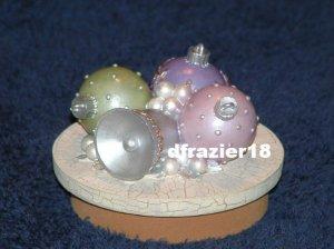 FANCY ORNAMENTS Jar Candle Topper Christmas Theme Decor