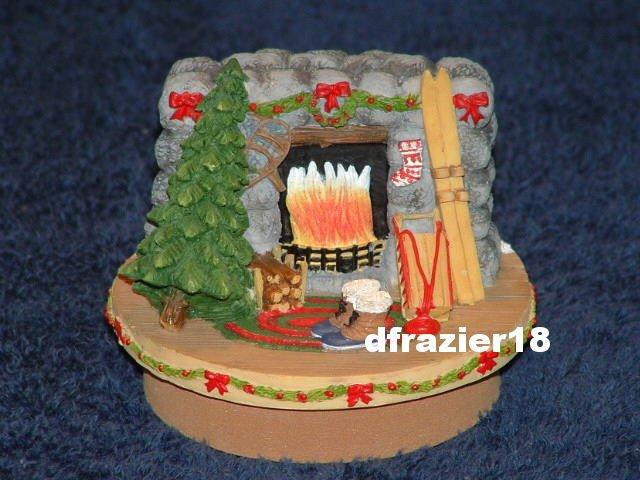 WINTER LODGE Jar Candle Topper Christmas Ski Theme Decor