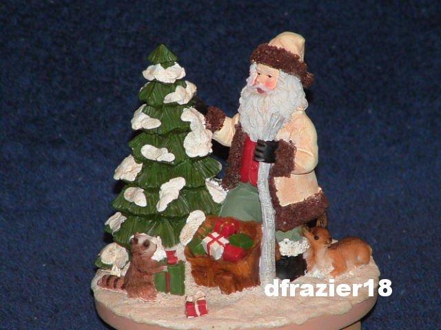 WOODLAND SANTA CLAUS Jar Candle Topper Christmas Winter
