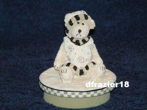 BOY BEAR Jar Candle Topper Miss Heather Plum Pudding