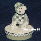 BOY BEAR WITH PRESENT Jar Candle Topper Miss Heather Hykes Plum Pudding