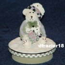 GIRL BEAR WITH PRESENT Jar Candle Topper Miss Heather Hykes Plum Pudding