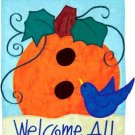 PUMPKIN BIRDHOUSE Toland Garden Flag Large Applique Fall Autumn