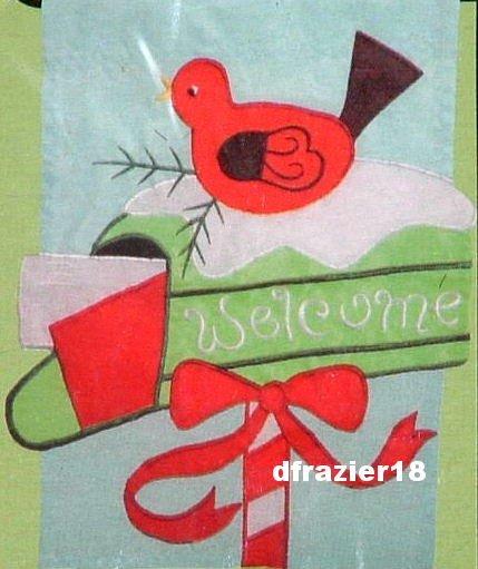 CHRISTMAS MAILBOX Toland Decorative Garden Flag Mini Applique Red Bird Welcome