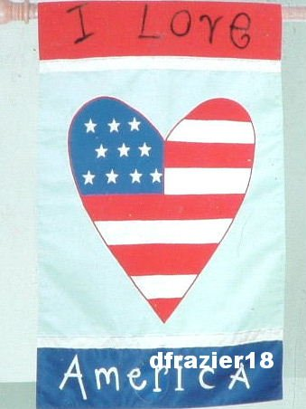 I LOVE AMERICA HEART Toland Decorative Garden Flag Large Patriotic Applique