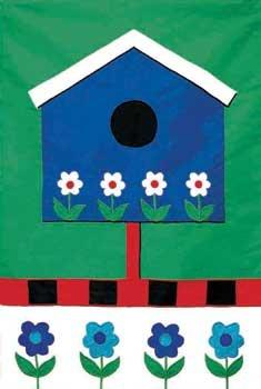 BLUE BIRDHOUSE Toland Decorative Garden Flag Large Applique Bird House