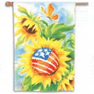 STAR SPANGLED SUNFLOWERS Toland Decorative Garden Flag Sunflower Patriotic Large