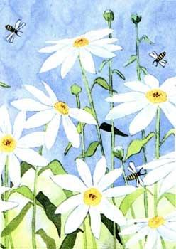 DAISIES & BEES Toland Decorative Garden Flag Large Daisy