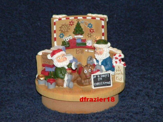 SANTA WORKSHOP Jar Candle Topper Christmas Elf Elves Toy Shop
