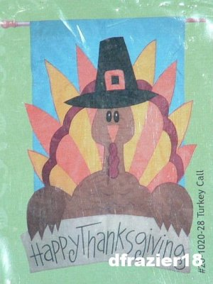 TURKEY CALL Toland Garden Flag Large Decorative Applique Happy Thanksgiving