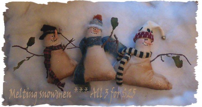 OOAK 3 prim melting snowmen Christmas ornie shelf sitter folk art