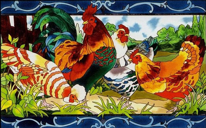 CoLorfuL Hens And Rooster Cross Stitch Pattern***L@@K***
