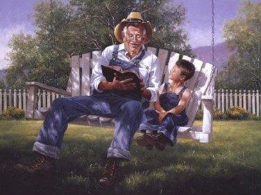 Grandpa Reading The Bible Cross Stitch Pattern***L@@K***