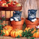 Cute Fall Kitten Pair Cross Stitch Pattern***L@@K***