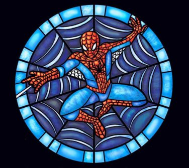 Stained Glass Spiderman Cross Stitch Pattern***LOOK***