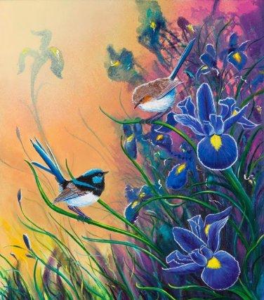 Misty Blue Iris Cross Stitch Pattern***L@@K***