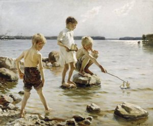 Albert Edelfelt-Children Playing on the Shore