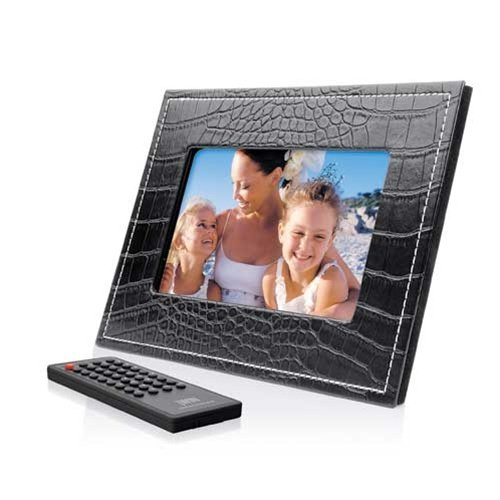 7 inch TFT LCD Widescreen Digital Photo Frame with Black Leather Frame Design