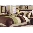 Essence Faux Silk Green/Brown 7 Piece Comforter Set