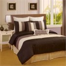 Venetto Faux Silk Black/Taupe 8 Piece Comforter Bed In A Bag Set
