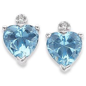 5.87 Carat CZ Birthstone Heart Sterling Silver Earrings