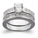 Sterling Silver CZ 2 PC Engraved Wedding Set