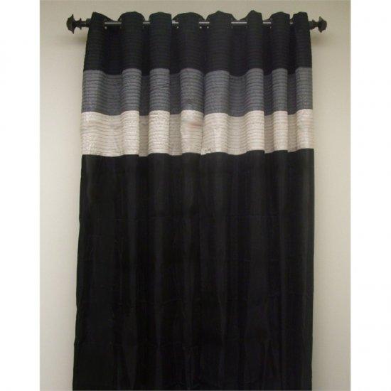 Essence Black/Gray Two Grommet Drapes 60 x 84 Each