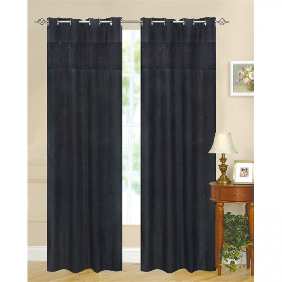 Carly Velour Suede Black Two Grommet Drapes