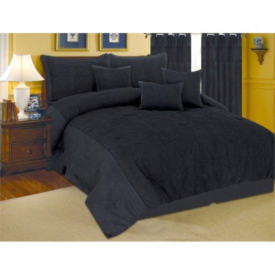 Carly Velour Suede Black Oversize 7 Piece Comforter Set