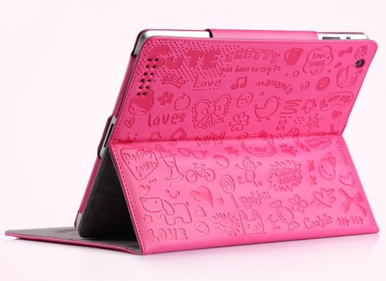 Free shipping Lovely Little witch leather case for ipad 2,many color for option