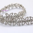 LG-475 wedding cake decor headdress craft rhinestone crystal silver plating chain trimming 1 yard