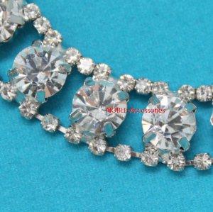 LG-374 couture clothing bridal headdress applique rhinestone crystal silver chain 1 yardd