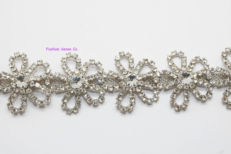 LG-466 5 petals bridal wedding costume diamante rhinestone crystal silver trim 1 yard