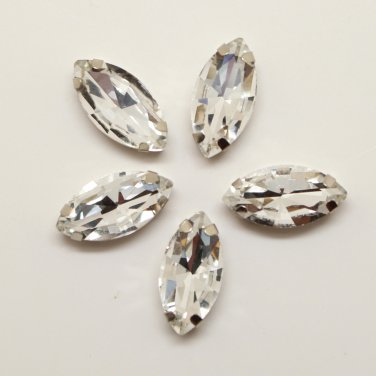 Marquis navette 9x18mm millinery craft stitch sew on montee loose bead GLASS crystal chaton silver